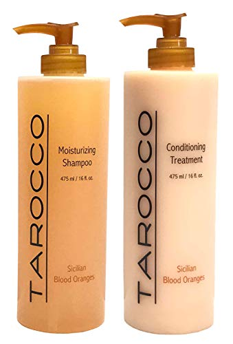 Baronessa Cali Tarocco Hair Care Set: Sicilian Blood Oranges Shampoo and Conditioner - Clean, Shiny, Manageable Hair - 16 Ounce