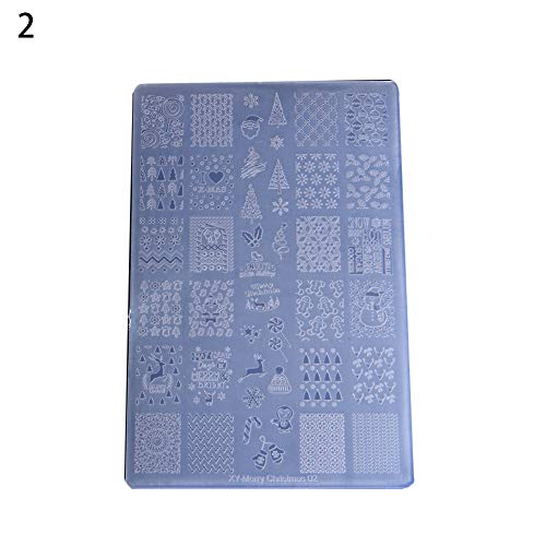 LBgrandspec Christmas Style Manicure DIY Tool Nail Art Print Stamp Stamping Plate Template New Nail Plastic Printing Board, 6 Types of Christmas - 2#]()
