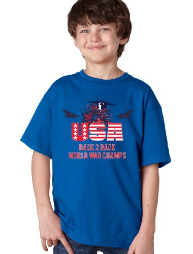 AMERICA: BACK 2 BACK WORLD WAR CHAMPS Youth T-shirt / Patriot, USA, WWII 4th of July Tee