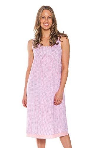Patricia Women's Sleeveless Sleep Dress Nightshirt (Pink, Small) - Liquid Jersey Dress