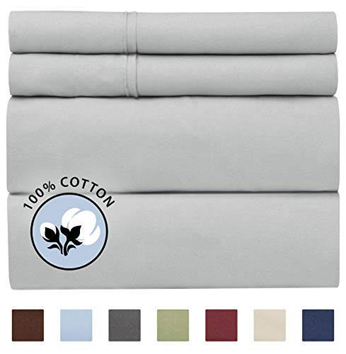 100% Cotton King Sheets Light Grey (4pc) Silky Smooth