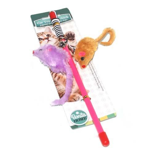 Cat Toy On Stick-Plush Mice, Case of 36