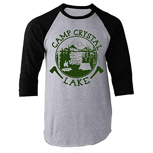 Pop Threads Camp Crystal Lake Counselor Shirt Costume Staff Black S Raglan Baseball Tee Shirt