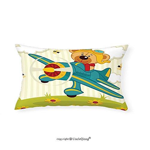 VROSELV Custom pillowcasesCartoon Decor Teddy Bear Flying on Airplane in Clouds on Floral Field Child Kids Nursery Design for Bedroom Living Room Dorm Multi(16''x20'') by VROSELV