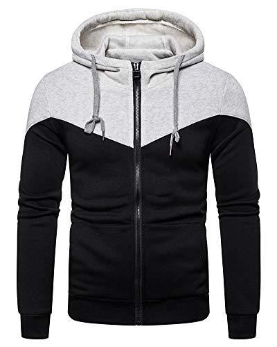 Lexiart Mens Fashion Zipper Hoodie Pullover – Casual Sweatshirt Sport Jackets Grey M