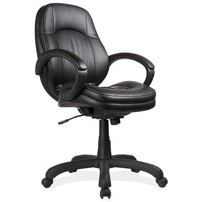 OfficeSource Prudential Series Mid-Back Office Chair, Black