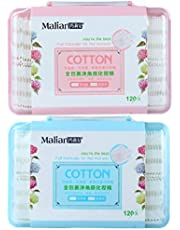 PRETYZOOM Cotton Face Pads Make Removal Cleaning Pads Double Side Face Wash Tissue Face Beauty Care Cosmetic Pads 2 Boxes