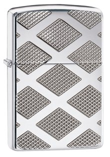 Diamond Humidors (Zippo Armor Diamond Deep Carve Pocket Lighter, High Polish Chrome)
