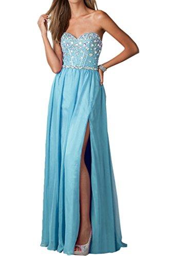 Linie Promkleid Abendkleid Damen A Blau Festkleid Chiffon Lang Ballkleider Ivydressing Schlitz wqtSxSI