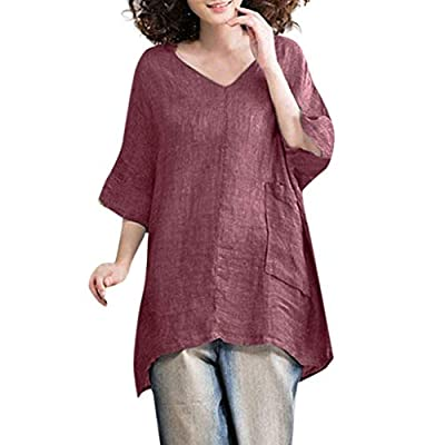 MURTIAL Women T-Shirts Casual Blouse Linen Solid Shirt Boho Comfortable Loose Pocket Tops