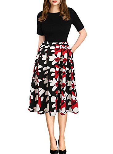oxiuly Women's Patchwork Foral Pockets Puffy Swing Casual Party Dress OX165 (L, Black + red)