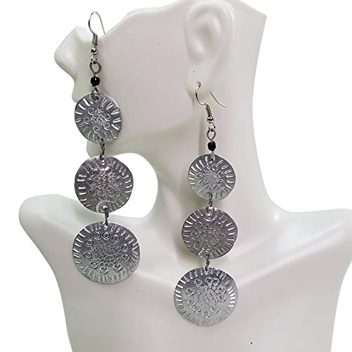- Round Long Cascade Etched Aluminum Earrings