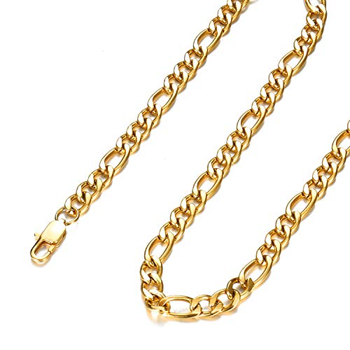 Chain Figaro 18 Gold - FEEL STYLE 4mm 18K Gold Plated Stainless Steel Chain Necklace for Men Women Figaro Link Chains Jewelry 20 Inch