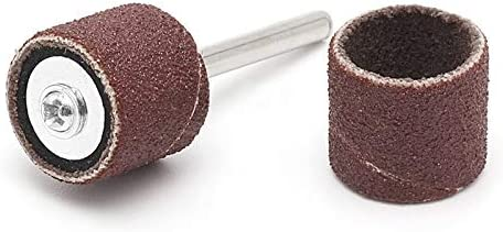 100Pcs 1//2 and 1//4 Sanding Band Sleeves Drum Kit Sandpaper Rubber 2 Mandrels W310 PIPQCStore
