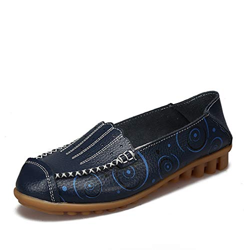 August Jim Women Loafers Shoes Comfort Slip on Flats Soft Rubber Sole Casual Shoes -