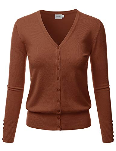 Sweater And Tall Big V-neck - LALABEE Women's V-Neck Long Sleeve Button Down Sweater Cardigan Soft Knit-Mocha-S
