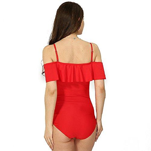 Shangrui Mujer Traje de Baño de la Serie Hoja de Loto Sin Tirantes Eslinga Color Sólido Traje de baño de una pieza(FZEH17051) Rojo