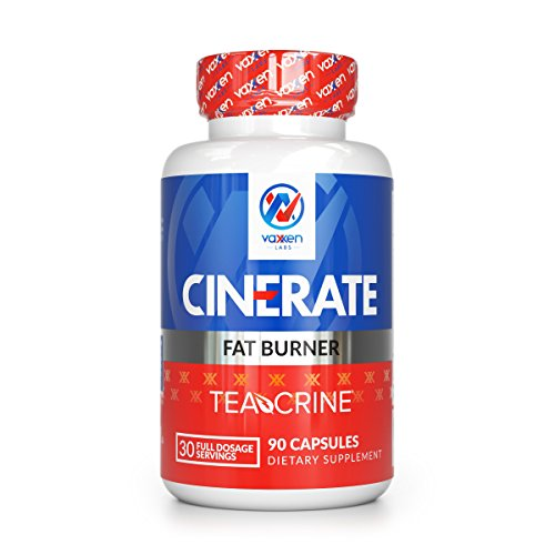 Vaxxen Labs Cinerate Fat Burner with TeaCrine - Safe Appetite Suppressant Pills for Women and Men - 90 Capsules