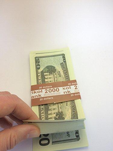 Prop Money, Play Money Pretend $20 Dollar Bills, Full Print