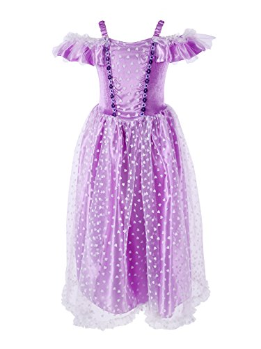 MAGIC TOWN Little Girls' Off-Shoulder Princess Fancy Dress Costume (6-8 years,Purple) (Fancy Dress Up Clothes)