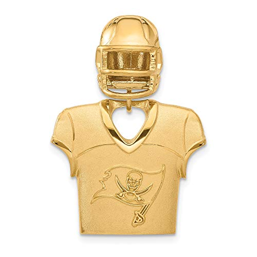 Kira Riley Gold Plated Tampa Bay Buccaneers Jersey & Helmet Pendant for Chains and Necklaces (Tampa Bay Buccaneers Gold Plated)