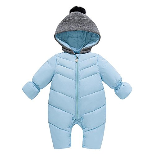 Genda 2Archer Unisex Baby Hooded Puffer Jacket Jumpsuit Winter Snowsuit Coat Romper(10-14M) Light Blue