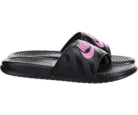NIKE Women's Women's Benassi Just Do It Athletic Shoe, black/vivid pink - black, 9 Regular US