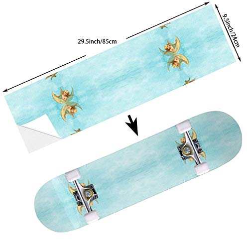 (YEAH STAR Angel Babies Skateboard Sticker Decals Anti Fade Waterproof Skate Balance Deck Scooter Board Cruiser Deck Back Tape Sheet, Bubble Free Easy to Apply)