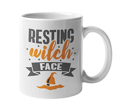 Resting Witch Face Funny Cute Halloween Pun Quotes With Witches' Hat Coffee & Tea Gift Mug Cup, Home Kitchen Decor, Stuff, Items, Merchandise, Party Supplies, And Favors For Women & Girls (11oz)
