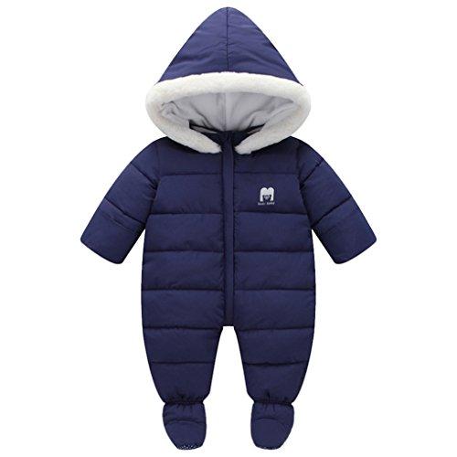 Baby Winter Fur Trim Hooded Down Snowsuit Footie Romper Puffer Jacket Jumpsuit Deep Blue Size 90(0-6Months)