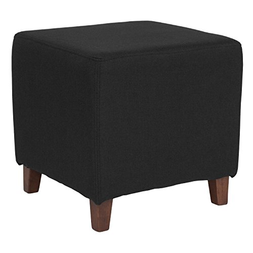 Flash Furniture Ascalon Upholstered Ottoman Pouf in Black Fabric