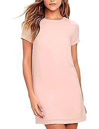 Women s Casual Chiffon Short Sleeve A-Line Shift Mini Dresses a46104531722