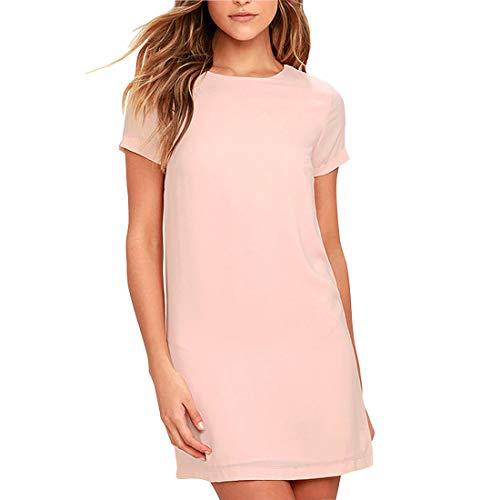 GADOTBOUTIQUE Women's Casual Chiffon Short Sleeve A-Line Shift Mini Dresses (XXX-Large, Pink)