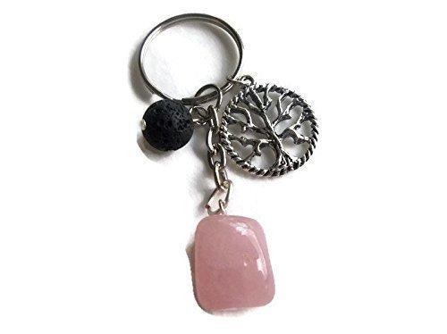 Rose Quartz Tree of Life Gemstone Diffuser Keychain Spiritual Wellness Lava Stone Diffuser