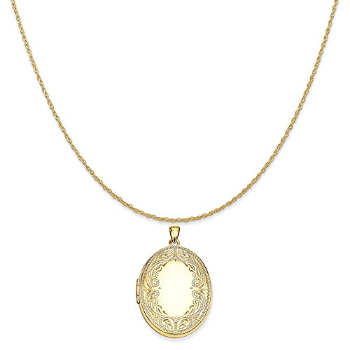 - Mireval 14k Yellow Gold 31mm Oval Scroll Locket Pendant on 14K Yellow Gold Rope Chain Necklace, 20