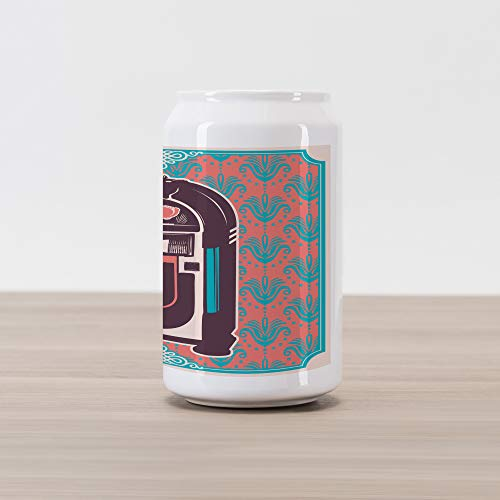 Ambesonne Jukebox Cola Can Shape Piggy Bank, Floral Paisley Inspired Backdrop with Music Box Retro Party Print, Ceramic Cola Shaped Coin Box Money Bank for Cash Saving, Turquoise Coral Dried Rose