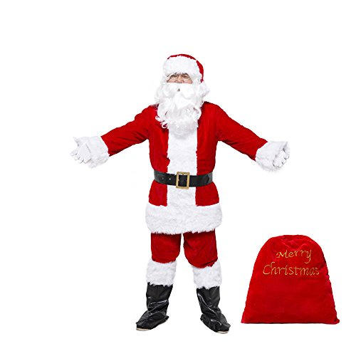 Costume Magic Deluxe Ultra Velvet Santa Suit 10 pc. (Medium) - Costumes That Need A Beard