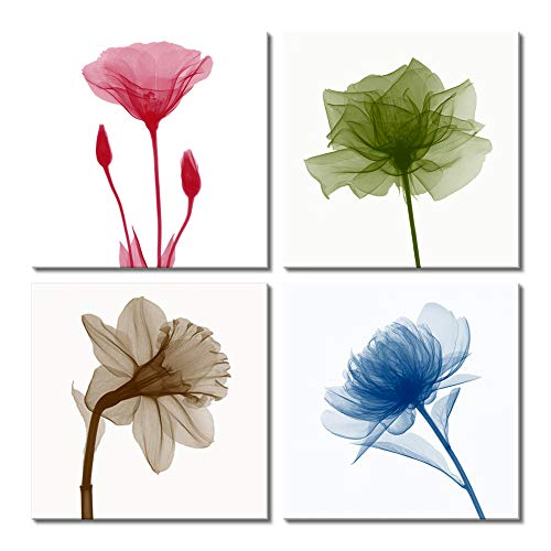Picabala Tulip Rose Flower Printed Canvas Painting Wall Art Colorful Modern Home Artworks Giclee Print on Canvas Framed and Stretched Plant Wall Picture for Living Room Bedroom Decor 12x12in-B ()