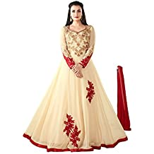 Royal Heaven Ready Made Cream Color Heavy Georgette Embroidered Indian Long Anarkali Salwar Suit - 2104