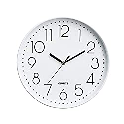 Xinrangxin 12-Inch Round Silent Non-Tick Quartz Decorative Battery-Operated Wall Clock, Suitable for Living Room Home Office School Rose Gold Plastic Frame Glass Cover (30.630.64.7Cm),White