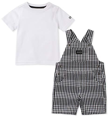 Calvin Klein Baby Boys 2 Pieces Shortall, Black/White -