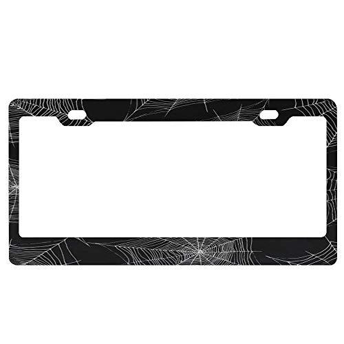 SDGlicenseplateframeIUY Cobweb Silver Color Outline Halloween Spider Web Funny License Plate Frame Unique Design Vanity License Plate, Metal Car License Plate]()