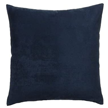 DreamHome - Solid Faux Suede Piping Edge Pillow Cover/Sham, 18  x 18  - Navy