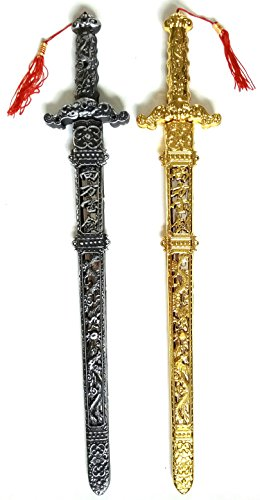 long! Twin Swords Antique-Chinese-Style Plastic (24.5'') Black And Gold (2 (Bubble Blast Halloween Online)