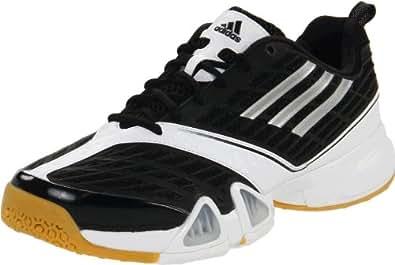 adidas Women's Volleio Indoor Volleyball Shoe,Black/Metallic Silver/Running White,9.5 M US