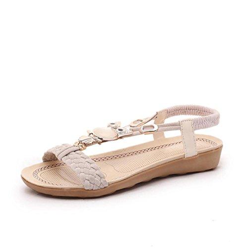 Transer 2017 1Pair Las mujeres del verano de la manera zapatos planos sandalias de los fracasos de tirón de los holgazanes Bohemia Beige