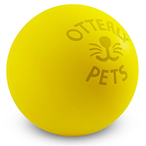 Otterly Pets Bouncy Ball Dog Toy - 100% Natural Food-Grade Rubber Solid-Core - Strong (But Not Indestructible) for Aggressive Chewers (Yellow)