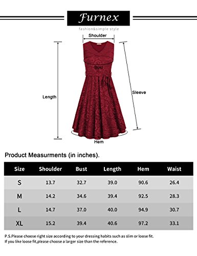 Furnex-Womens-Elegant-A-Line-V-Neck-Floral-Sleeveless-Knee-Length-Swing-Lace-Dress