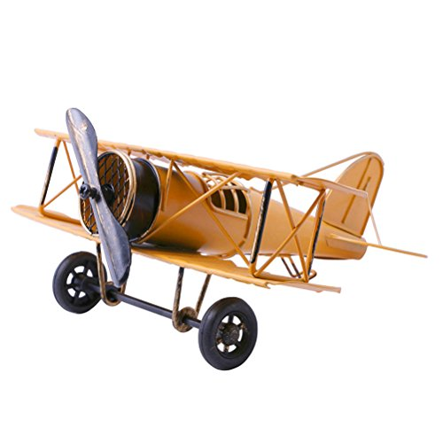 (Vintage Airplane Model Metal Handicraft, Wrought Iron Aircraft Biplane, for Photo Props/Christmas/Home Decor/Ornament (Yellow))