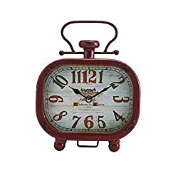 Elements Red Alarm Metal Table Clock, 8x10-Inch